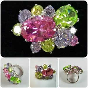 Silver Multi Colored CZ Cocktail Ring Size 6